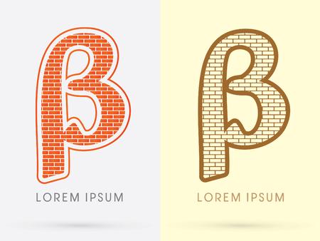 beta: Beta, Brick, Construction font graphic design.