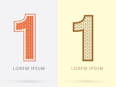 1, Brick, Construction font graphic design. Illustration