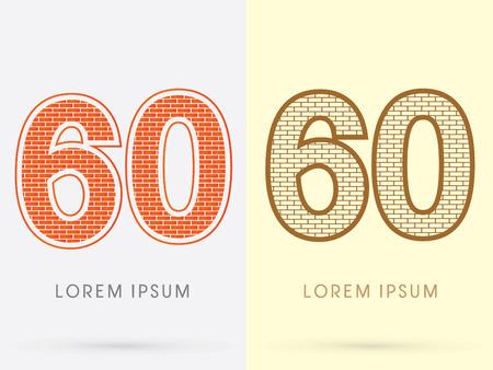 60: 60, Brick, Construction font graphic design.
