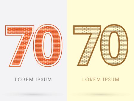 70: 70, Brick, Construction font graphic design.