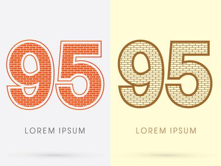 95: 95, Brick, Construction font graphic design.