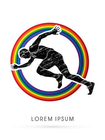 dirty t shirt: Running speed designed using grunge brush on rainbows background graphic vector.