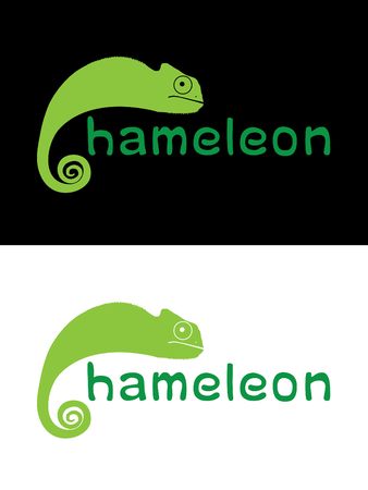 veiled: Chameleon text graphic vector.