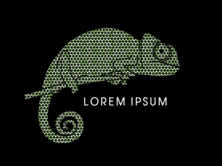 veiled: Chameleon designed using green triangle mosaic graphic vector. Illustration
