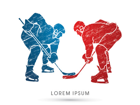 Hockey players designed using grunge brush graphic vector.