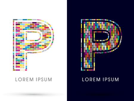 p buildings: P, Colorful Brick, Construction font graphic design. Illustration