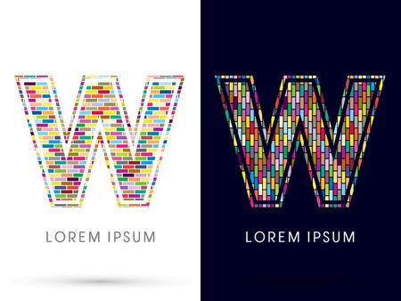 industrial complex: W, Colorful Brick, Construction font graphic design.