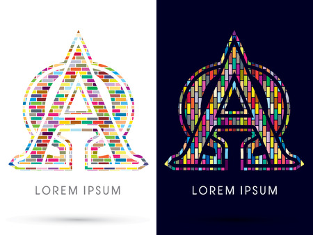 omega: Alpha and Omega, Colorful Brick, Construction font graphic design. Illustration