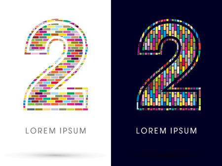 second birthday: 2, Colorful Brick, Construction font graphic design. Illustration