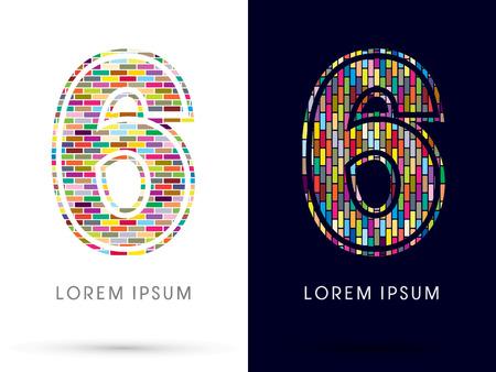 sixth birthday: 6, Colorful Brick, Construction font graphic design.