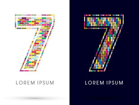 industrial complex: 7, Colorful Brick, Construction font graphic design.