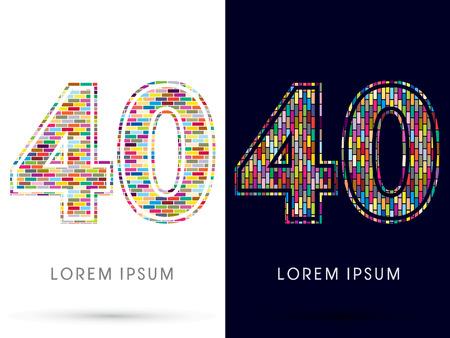 industrial complex: 40, Colorful Brick, Construction font graphic design.