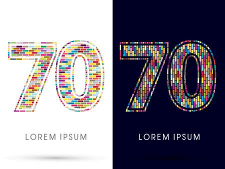 70: 70, Colorful Brick, Construction font graphic design. Illustration