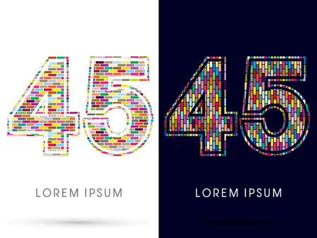 45: 45, Colorful Brick, Construction font graphic design.