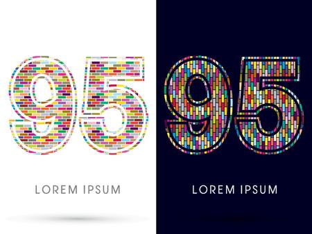 95: 95, Colorful Brick, Construction font graphic design.