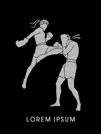 muay thai: Muay Thai, Thai Boxing, outline graphic vector