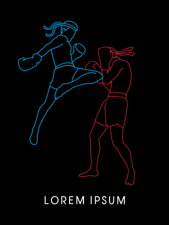 Muay Thai, Thai Boxing, outline graphic vector