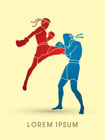 Muay Thai, Thai Boxing, silhouette graphic vector Stock Illustratie