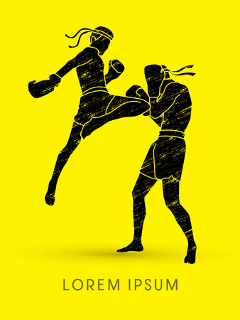 destroying the competition: Muay Thai, Thai Boxing, designed using grunge brush graphic vector Illustration