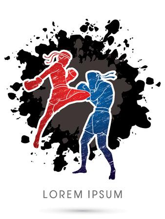 destroying the competition: Muay Thai, Thai Boxing, designed using grunge brush on ink splash graphic vector Illustration