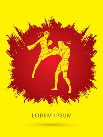 destroying the competition: Muay Thai, Thai Boxing, designed using grunge brush on splash blood background graphic vector Illustration