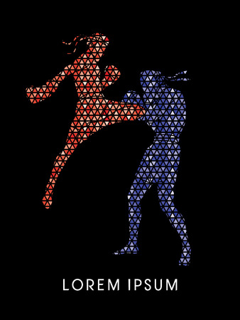 Muay Thai, Thai Boxing, designed using red and blue triangle mosaic graphic vector