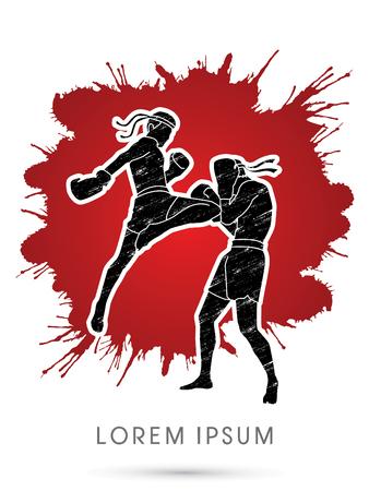 Muay Thai, boxeo tailandés, diseñado usando cepillo del grunge salpicaduras de sangre en el fondo del gráfico de vector