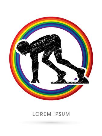 sprint: Prepare sprint, Start Running, designed using grunge brush on line rainbow graphic vector.