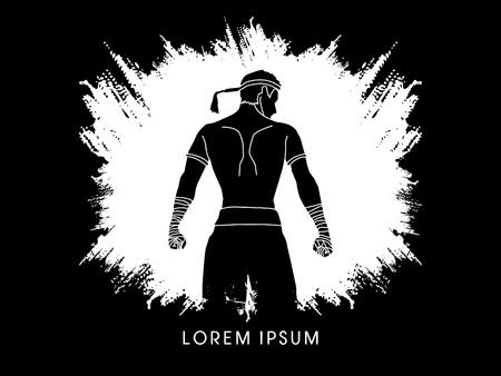 destroying the competition: Muay Thai, Sportsman kick boxer, Smart standing designed using white grunge brush graphic vector. Illustration