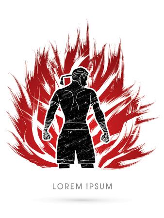 Muay Thai, Sportsman kick boxer, Smart standing on fire brush graphic vector. Illustration