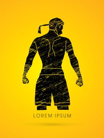man power: Muay Thai, Sportsman kick boxer, Smart standing designed using grunge brush graphic vector.