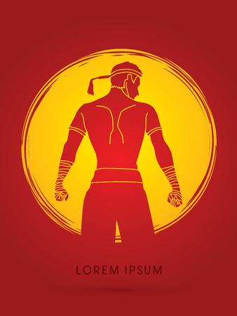 ready logos: Muay Thai, Sportsman kick boxer, Smart standing designed on moonlight background graphic vector.