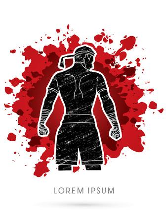 destroying the competition: Muay Thai, Sportsman kick boxer, Smart standing designed using grunge brush on splash blood background graphic vector.