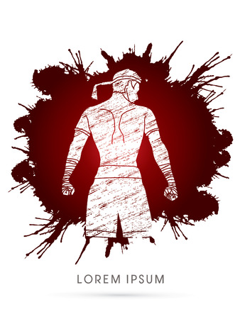 destroying the competition: Muay Thai, Sportsman kick boxer, Smart standing designed using grunge splash blood graphic vector.