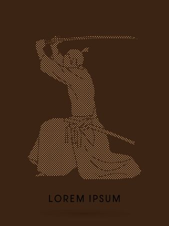somersault: Samurai with katana sword, Aikido action, designed using dot and square graphic vector.
