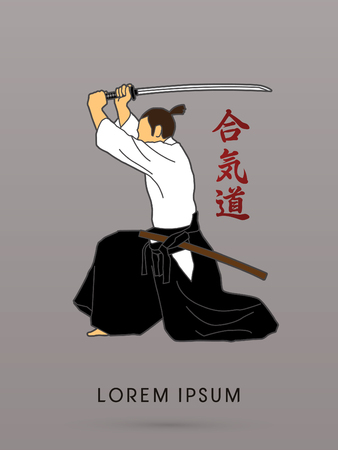 shadow silhouette: Samurai with katana sword, Aikido action graphic vector. Illustration