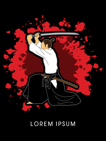 katana: Samurai with katana sword, Aikido action, designed on splash background graphic vector.