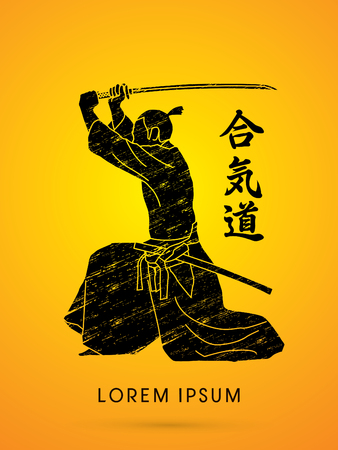 Samurai with katana sword, Aikido action, designed using grunge line graphic vector.
