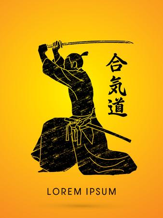 Samurai with katana sword, Aikido action, designed using grunge line graphic vector.