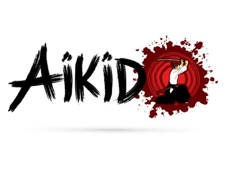 creative arts: Aikido text on grunge splash blood background graphic vector
