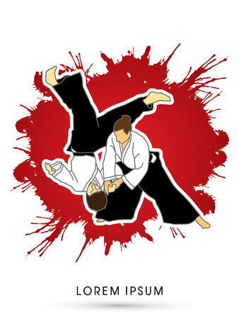 destroying the competition: Aikido fighters designed on splash grunge blood background graphic