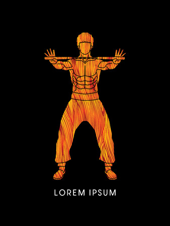 nunchaku: Man and nunchaku Ready to Fight designed using line fire brush graphic Illustration