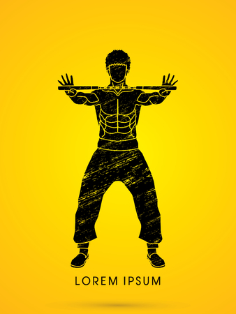 nunchaku: Man and nunchaku ready to Fight designed using grunge brush graphic