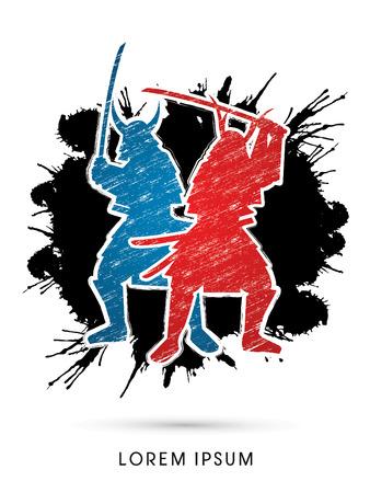 samurai warrior: Silhouette, Twin Samurai Warrior with sword,  designed using grunge brush on grunge splash background graphic vector.