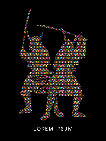 ready logos: Silhouette, Twin Samurai Warrior with sword, designed using colorful triangle mosaic graphic vector.