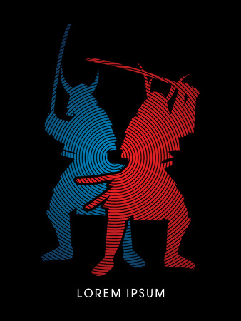 twin: Silhouette, Twin Samurai Warrior with sword, designed using red and blue circle line graphic vector.