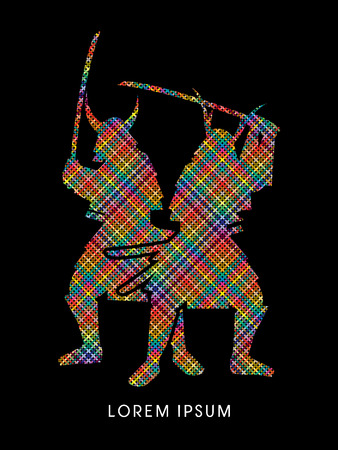 samurai: Silhouette, Twin Samurai Warrior with sword, designed using colorful pixels graphic vector.