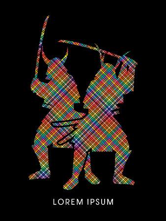 samurai sword: Silhouette, Twin Samurai Warrior with sword, designed using colorful pixels graphic vector.