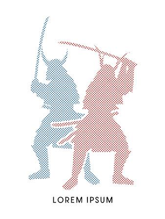 samurai warrior: Silhouette, Twin Samurai Warrior with sword, designed using dot and square graphic vector. Illustration