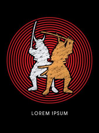 samourai: Silhouette, bimoteur Samurai Warr avec l'�p�e, con�u en utilisant une brosse grunge sur cercle rouge vecteur de fond graphique. Illustration